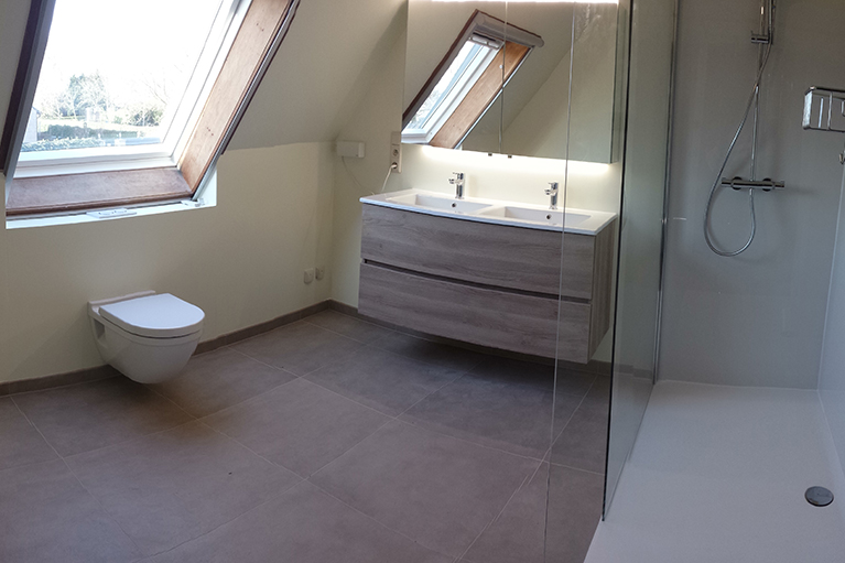 Badkamer renovatie inloop douche lavabo meubel Hang-WC